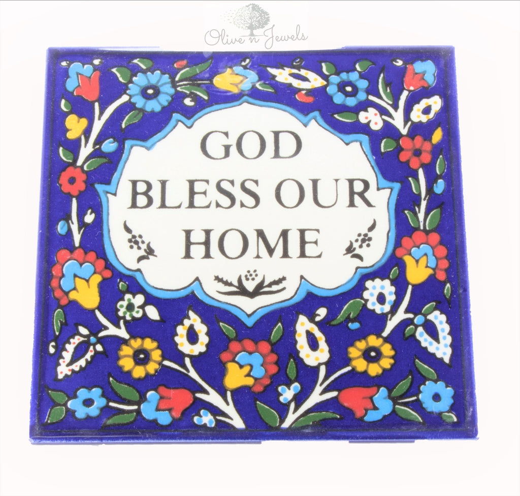 Ceramic Hand Painted God Bless Our Home