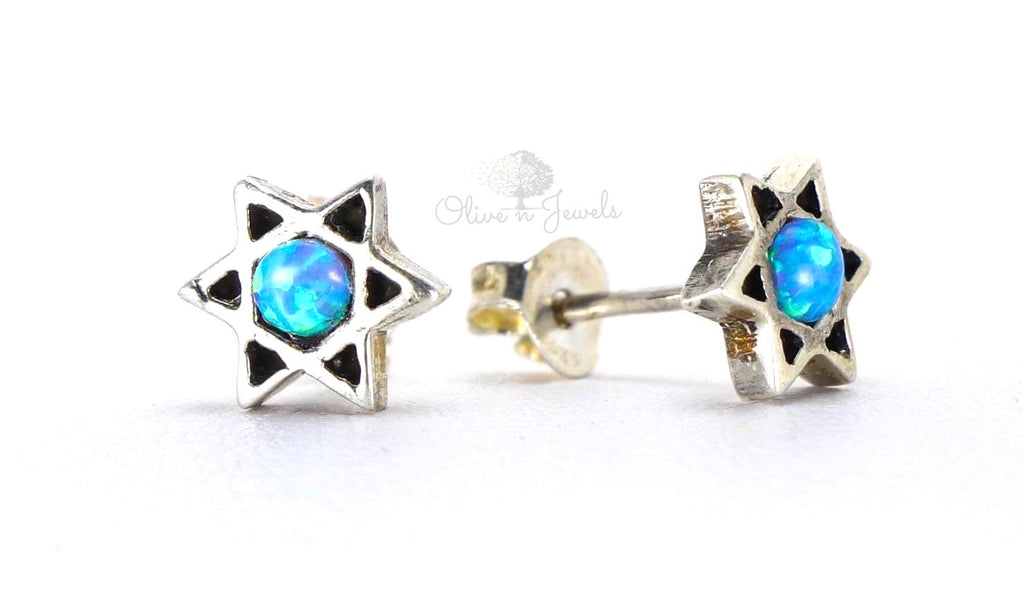 Opal Star Of David Stud Earrings