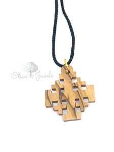 String Olive Wood Jerusalem Cross