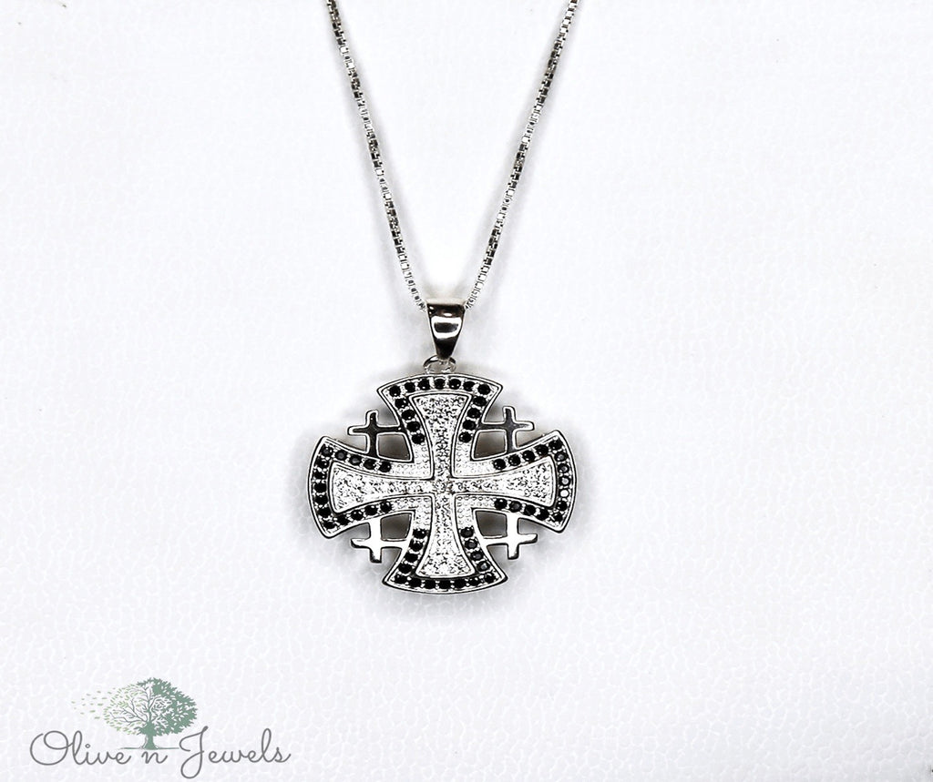 Zircon Jerusalem Cross Pendant
