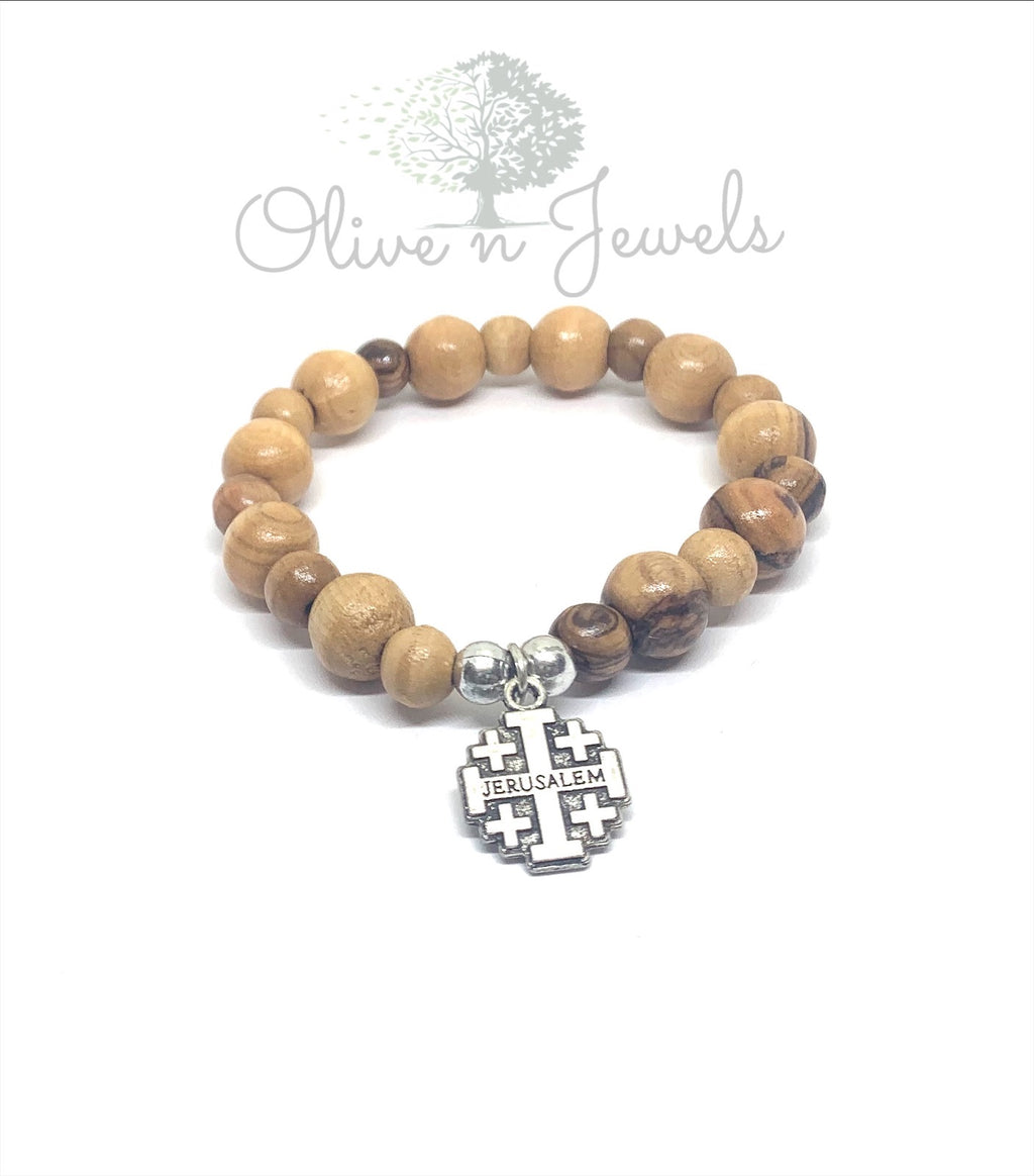 Bracelet Jerusalem Cross Olive Wood