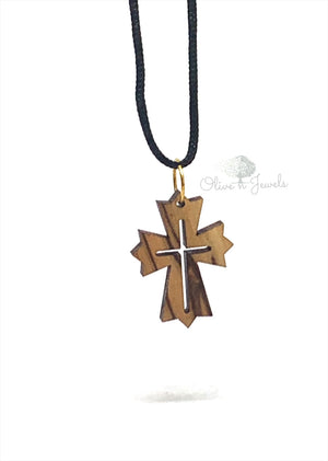 String Necklace Wood Cross