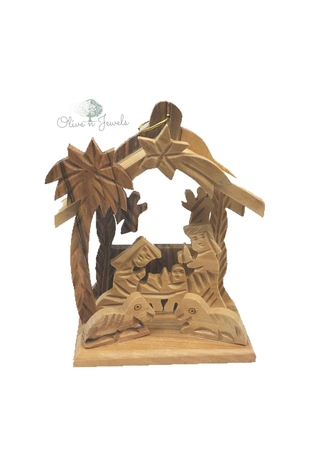 Nativity Stable Scene / 2 Angels Olive Wood