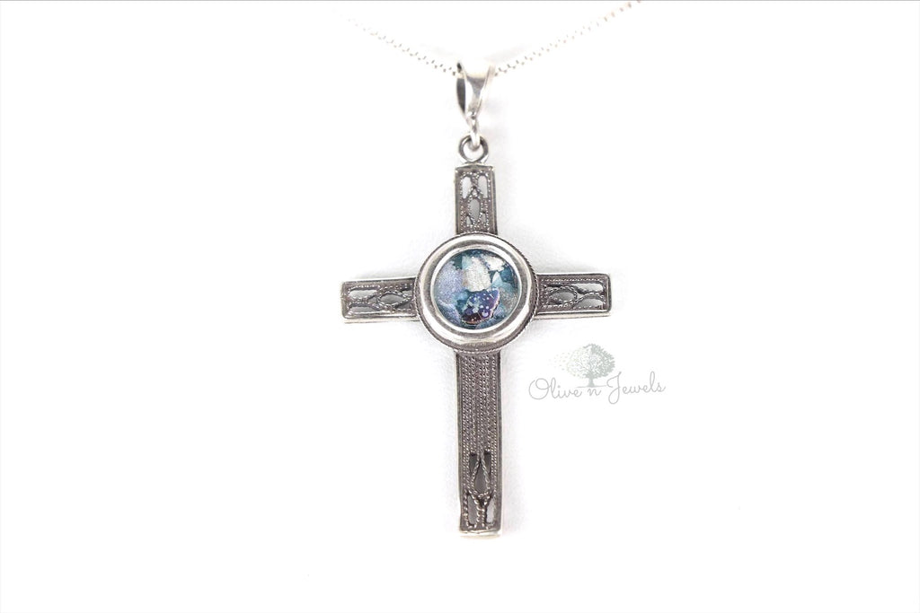 Roman Glass Cross Pendant Oxidized