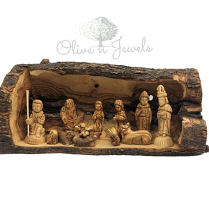Natural Olive Wood Branch Nativity Scene