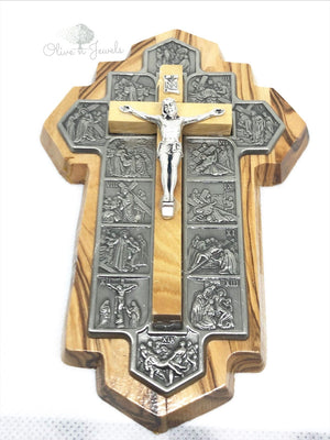 Cross with 14 Stations of Cross Olive Wood
