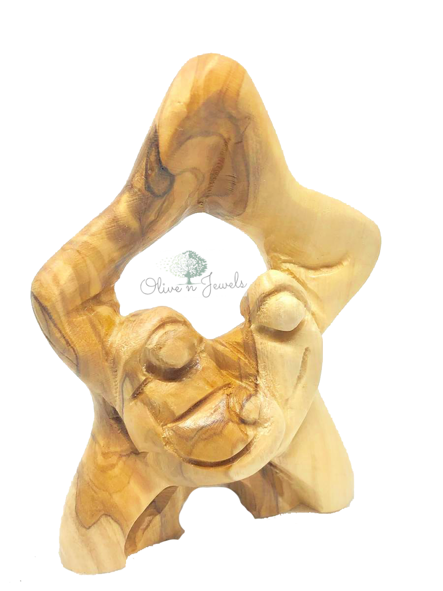 Star Holy Family Olive Wood