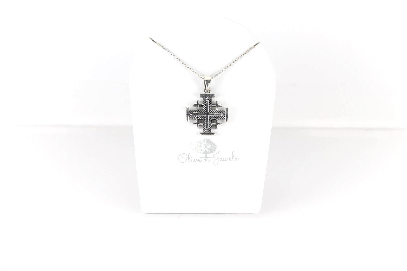 Oxodized Silver Jerusalem Cross Pendant