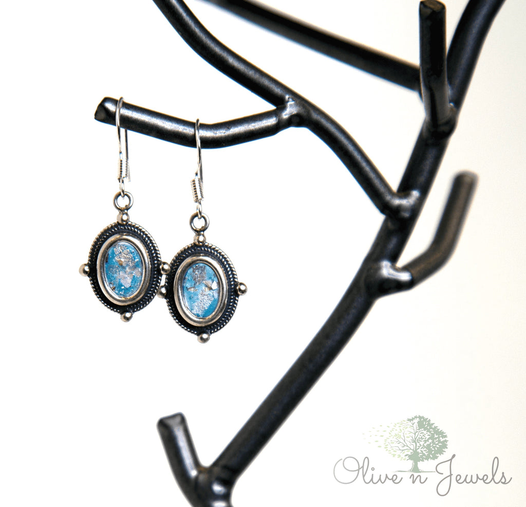 Roman Glass Hook Wire Earrings