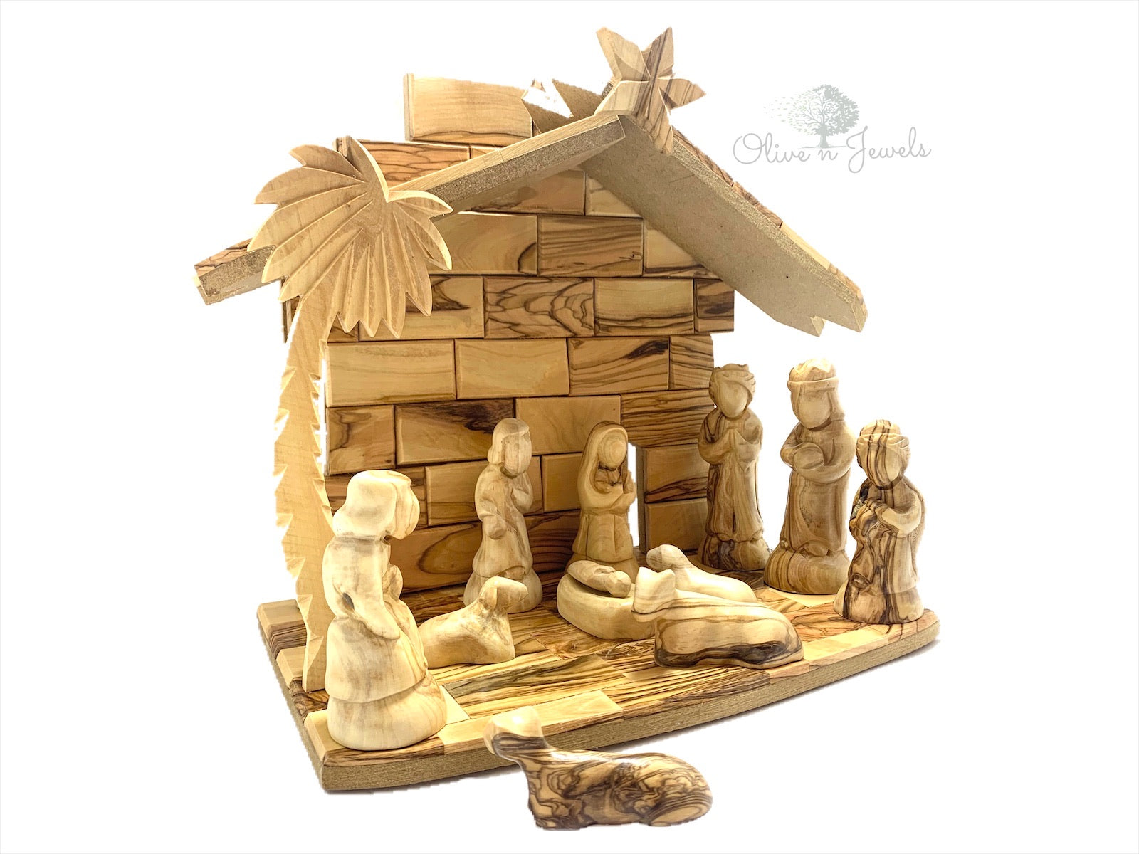 Nativity Scene Hand Carved Faceless Figures