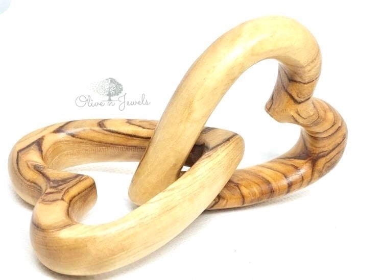 Connecting Hearts Olive Wood
