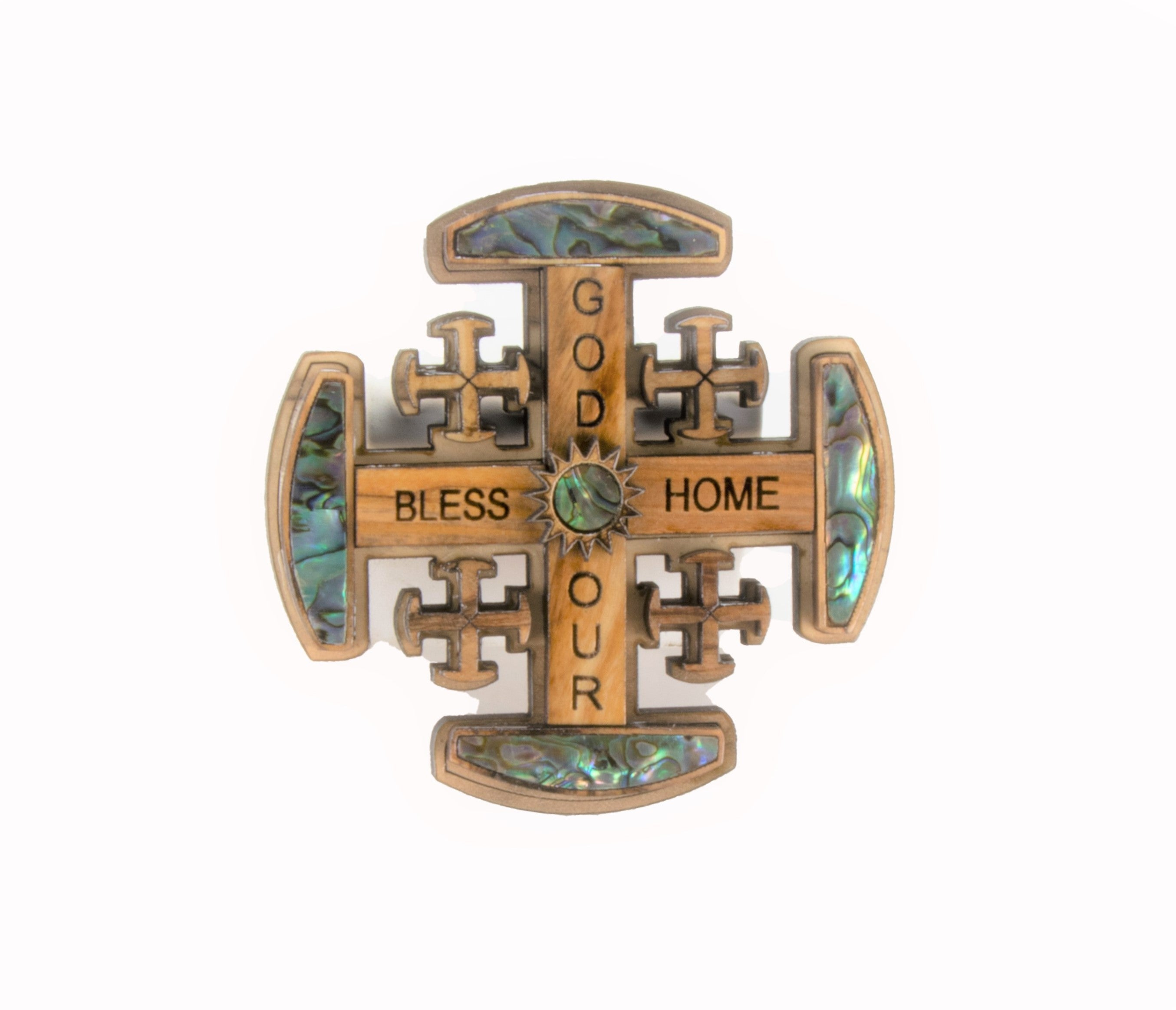 Olive Wood Pearl Jerusalem Cross