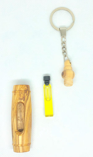 Vial Anointing Oil Keychain Olive Wood