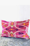 Pink Silk velvet ikat cushion