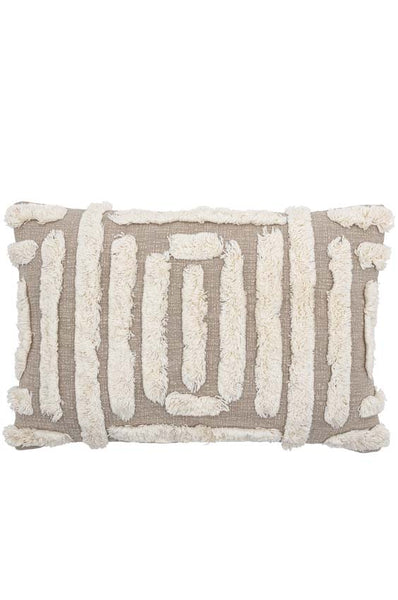 Textured Beige Cushion with cream fringe lines