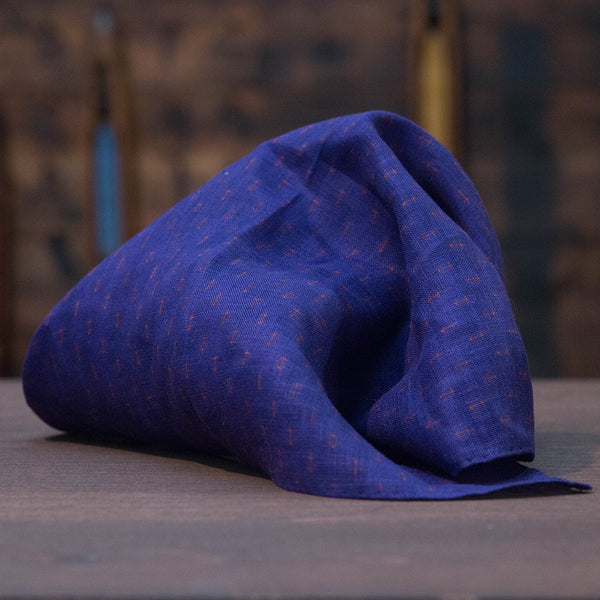 Navy blue linen pocket square with anchor pattern