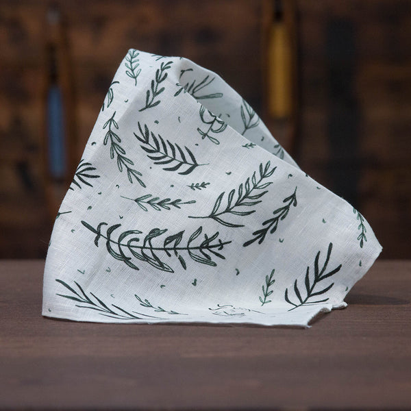 Linen pocket square with green plant pattern