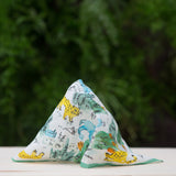 Linen pocket square with jungle pattern