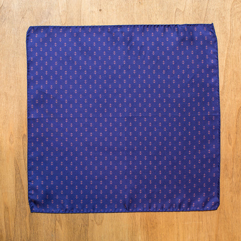 Navy blue silk pocket square with anchor pattern
