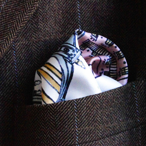 Silk pocket square with Paris pattern