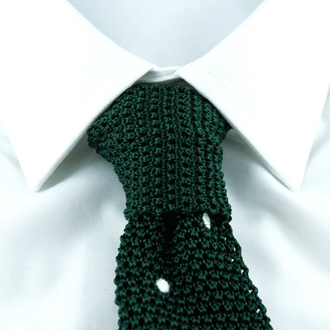 Green with white dots knitted silk tie