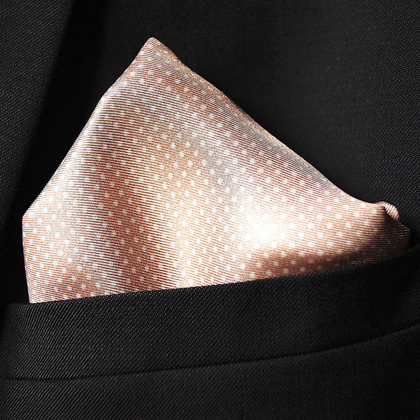 Silk pocket square pink granite with dots