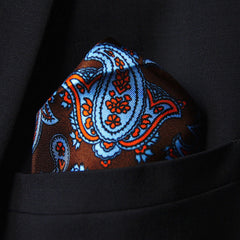 Silk pocket square with brown paisley pattern