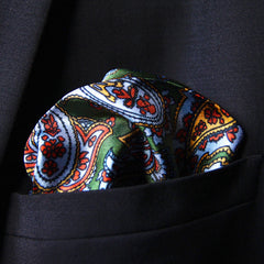Silk pocket square with green paisley pattern