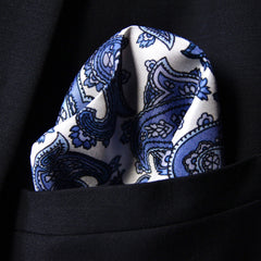 Silk pocket square with blue and grey paisley pattern