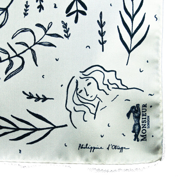 Silk pocket square with blue plant pattern