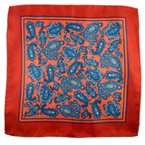 Silk pocket square with coral paisley pattern