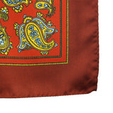 Silk pocket square with burgundy paisley pattern