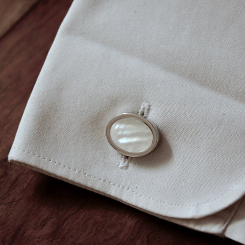 White stone oval cufflinks