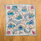 Linen pocket square with ocean pattern