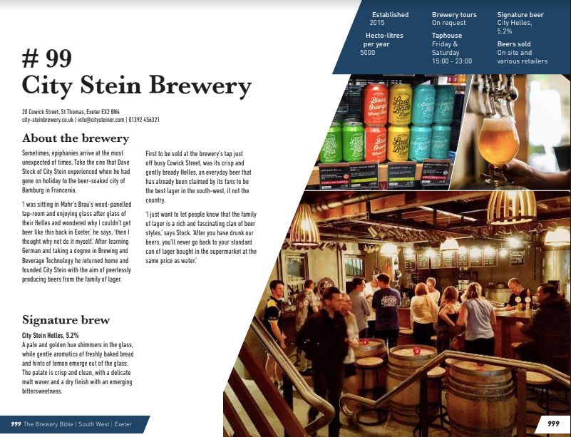 The Brewery Bible, brewery page