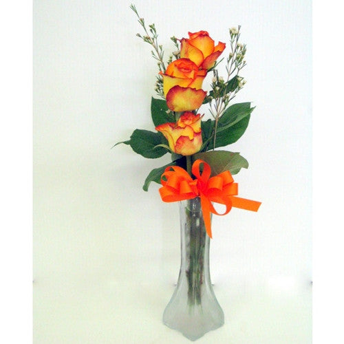 Triple Rose in Bud Vase