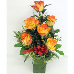 1/2 Dozen Roses in Colored Jar