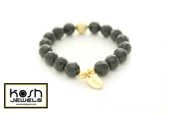 STARDUST SERIES SIGNATURE BEADED BRACELET - OBSIDIAN BLACK (FACETED)