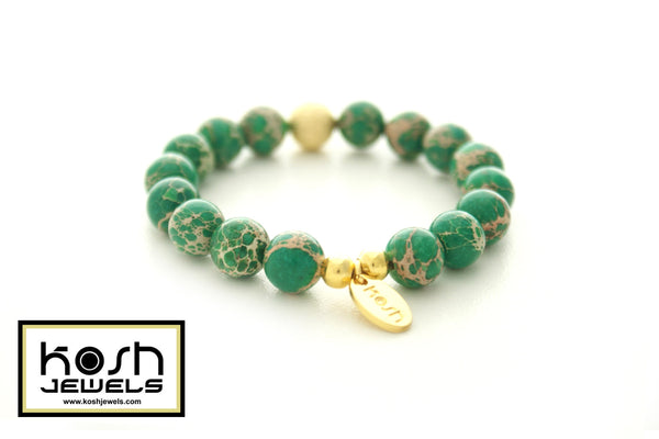 STARDUST SERIES SIGNATURE BEADED BRACELET - WILD LACE GREEN