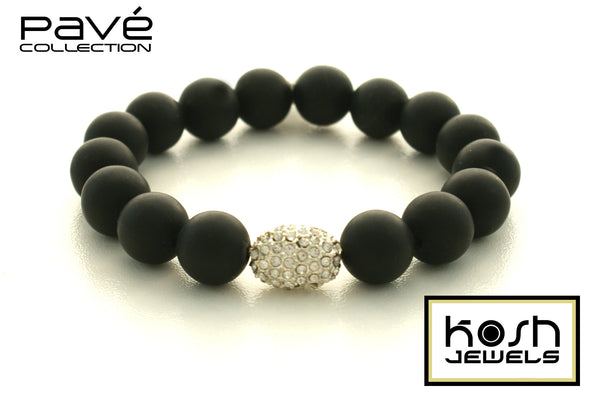 PAVÉ CRYSTAL ONYX SIGNATURE BEADED BRACELET