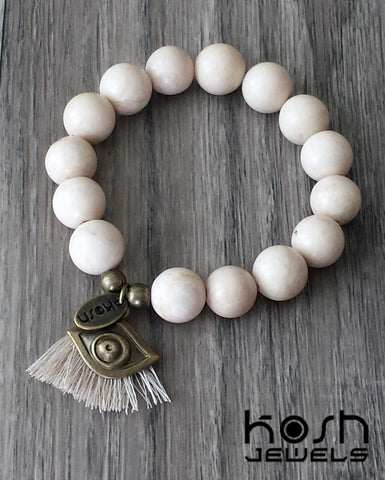 CHARM SERIES - 12mm BEIGE FOSSIL & EVIL EYE