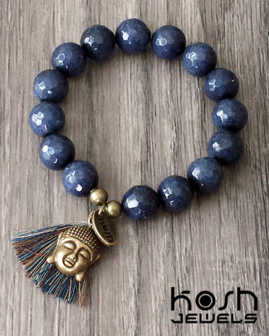 CHARM SERIES - 12mm INDIGO QUARTZ & BUDDHA