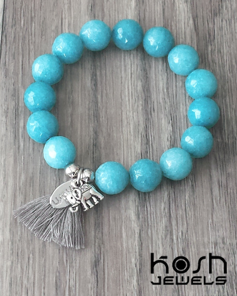 CHARM SERIES - 12mm AQUA QUARTZ & ELEPHANT