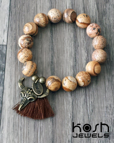CHARM SERIES - 12mm BROWN JASPER & RAM HEAD