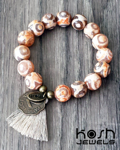 CHARM SERIES - 12mm DZI AGATE & COIN