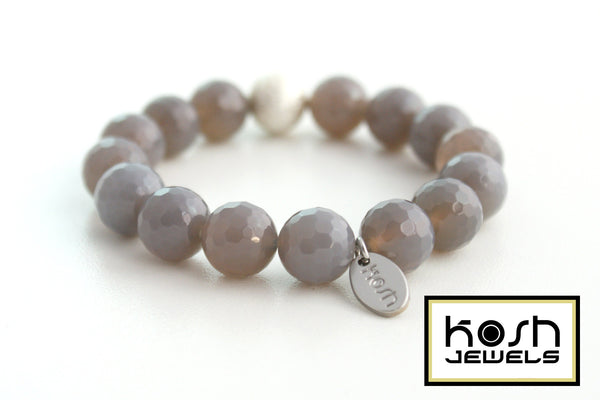 STARDUST SERIES SIGNATURE BEADED BRACELET - GRAY CHALCEDONY