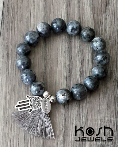 CHARM SERIES - 12mm GRAY LABRADORITE & HAMSA