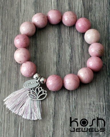 CHARM SERIES - 12mm RHODONITE & LOTUS