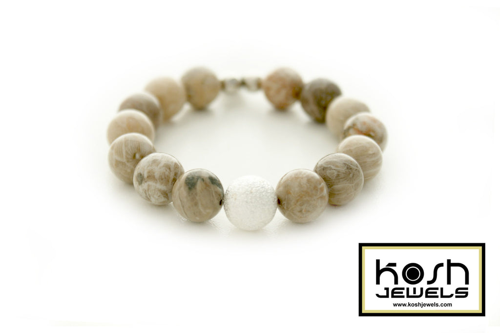 STARDUST SERIES SIGNATURE BEADED BRACELET - FOSSIL CORAL