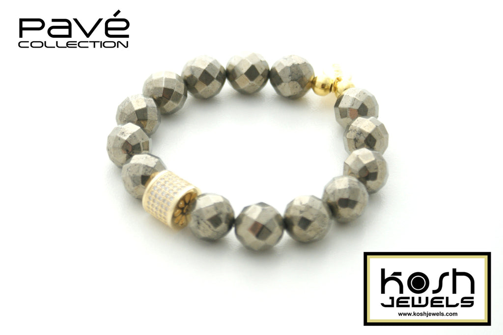 PAVÉ PYRITE SIGNATURE BEADED BRACELET